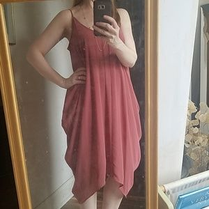 Brick drapey midi dress